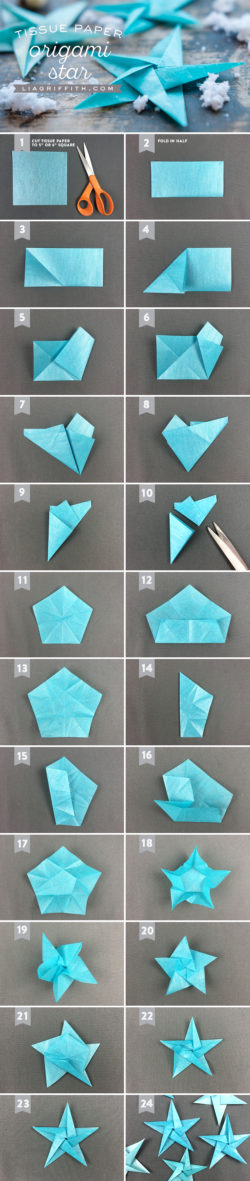 Tissue Star Origami Christmas Ornaments – Lia Griffith